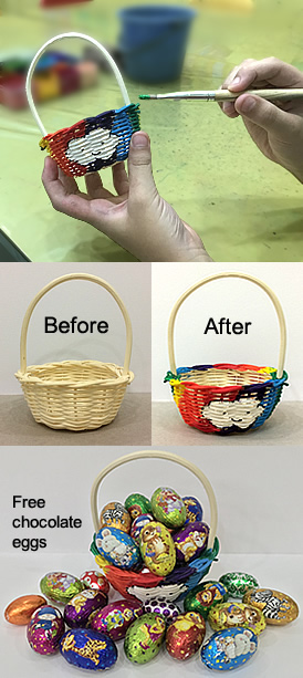 Mini cane basket before and after being painted. A child painting a plain cane basket with rainbow colours and a smiley-face cloud. Chocolate eggs wrapped in colourful foil printed with cute bunnies/animals, shapes and patterns.
