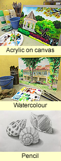 An adult painting on canvas with an easel; acrylic on canvas sample painting of Botanic gardens bandstand with acrylic paint and brushes; watercolour sample painting of Petain road Peranakan shophouses with watercolour paint and brushes