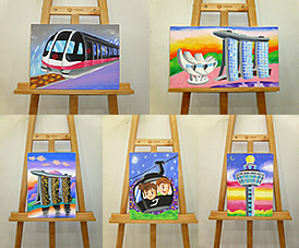children school holiday Singapore landmarks canvas painting class
