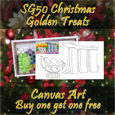Christmas golden treats, Singapre landmarks canvas art all 3 designs, Christmas discount price