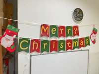 Christmas banner and Christmas stockings