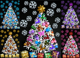 Christmas tree collage in rainbow colours