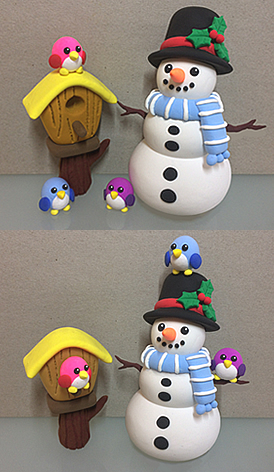 Clay snowman with light blue stripy scarf and mistletoe black hat, clay wooden bird house with pink / purple / blue cute clay birds