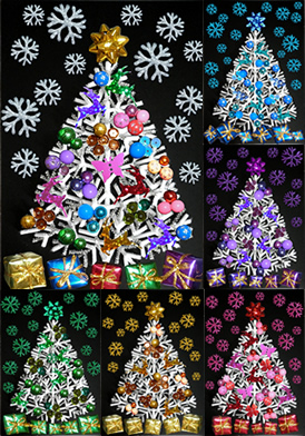 Collage christmas tree with star bow at the top, beads, reindeers, sequins, butterflies on the tree, mini presents under the tree and colourful snowflakes. The trees come in rainbow coloured, blue / purple / pink / gold / green coloured themes.