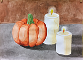 Halloween still life painting of pumpkin and candle