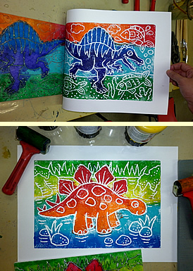 Children school holiday dinosaur printmaking class