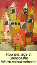 Sandcastle artwork in oil pastel warm colour scheme by a kid, age 8, from our children art class