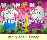 Sheep artwork in water colour by a kid, age 5, from our children art class