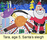 Santa Sleigh painting in ready-mix paint by a kid, age 5, from our children art class