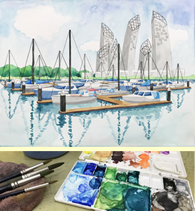 teenagers secondary school / college holiday, tertiary students, adults Keppel Bay watercolour painting class