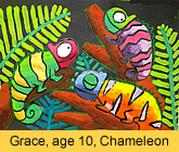 a kid's chameleon artwork in ready-mix paint painted in children art class