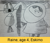 a kid's eskimo artwork in pencil painted in our children art class