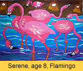a kid's flamingo artwork in ready-mix paint painted in children art class