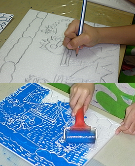 holiday printmaking class for children