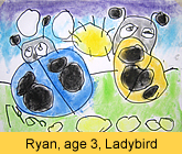 a kid's lady bird artwork in soft pastel painted in our children art class