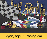 a kid's racing car artwork in ready-mix paint painted in our children art class
