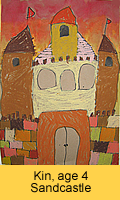 a kid's sand castle artwork in oil pastel painted in children art class