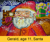 a kid's santa claus artwork in ready-mix paint painted in children art class