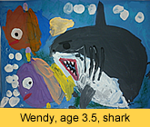 Shark artwork in ready-mix paint by a kid from our children art class