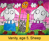 a kid's sheep artwork in water colour painted in our children art class