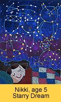 a kid's starry dream artwork in oil pastel painted in children art class