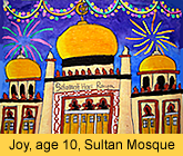 sultan mosque in oil pastel by a kid from our children art class